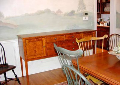 Tiger Maple Sideboard and Windsor Chairs