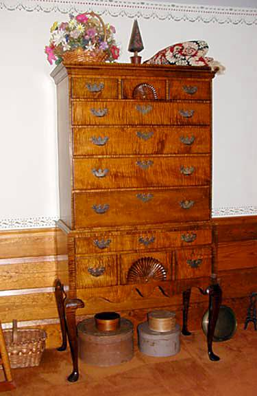 Tiger Maple Queen Anne Highboy