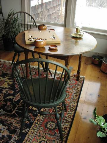 Continuous Arm Chairs with Tiger Maple Game Table