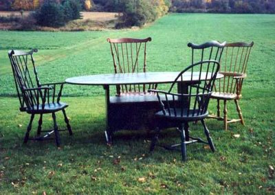 Hutch Table & Windsor Arm Chairs